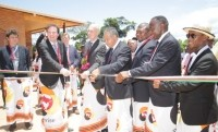 The ribbon-cutting ceremony: New plant means that every step in the processing of vanilla can now be performed locally on the east African Island