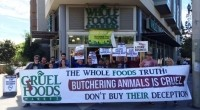 PETA members protest Whole Foods in San Francisco. Picture: PETA