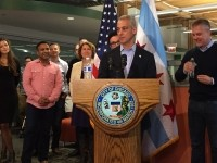 Mayor Rahm Emanuel addresses the press and SPINS employees at Friday's official ribbon cutting. Image © S. Daniells