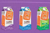 The word natural isn't as prominent (or nowhere) on the current package design of Good Karma's Flax Milk, which according to a press release, was launched in 2016. The class action suit for the natural claim was filed against the company in 2014. Photo from goodkarmafoods.com